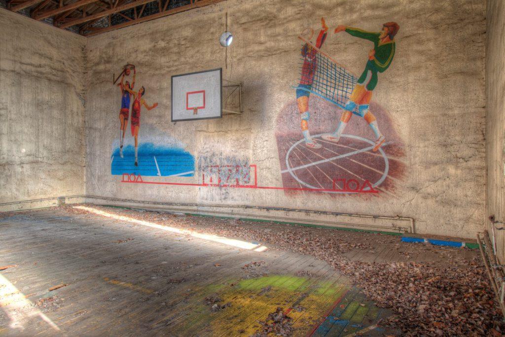 Gitter Sport een verlaten sportzaal ergens in Duitsland.
